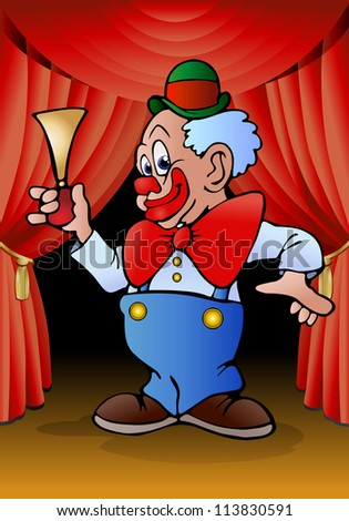 illustration of a funny clown hold horn in stage background - stock photo