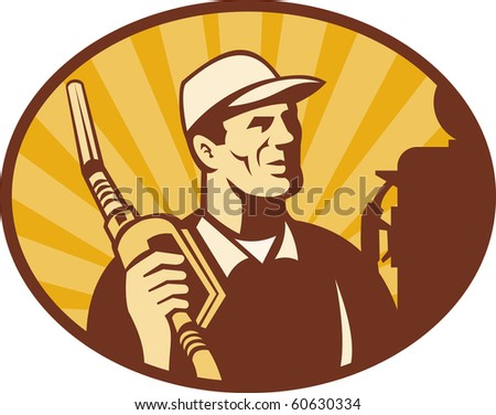 illustration of a Gasoline attendant looking holding petrol pump nozzle set inside an oval - stock photo