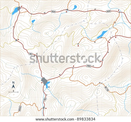 Illustration of a generic map showing relief contours - stock photo