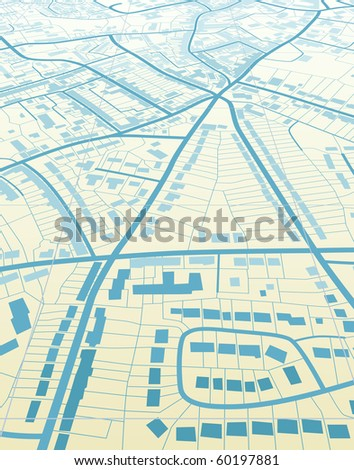 Illustration of a generic street map without names - stock photo