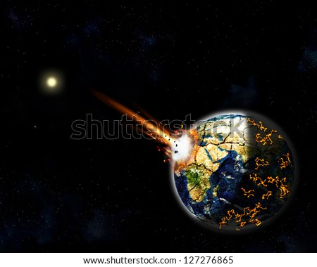 illustration of a giant asteroid impacted on Earth Africa creating massive explosion, fire and lava burning around the world. The Sun and Venus at background. Elements of this image furnished by NASA - stock photo