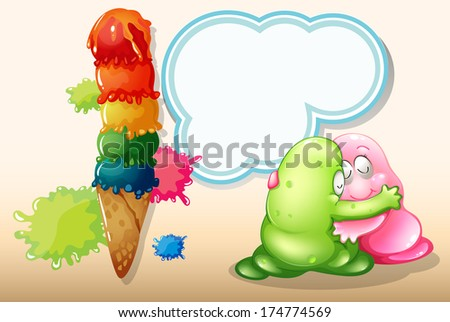 Illustration of a giant icecream beside the two monsters hugging - stock photo