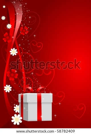Illustration of a gift box with ornament as the background