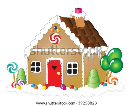 Illustration of a gingerbread house against white background - stock photo