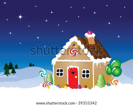 Illustration of a gingerbread house snow scene with star filled sky. - stock photo