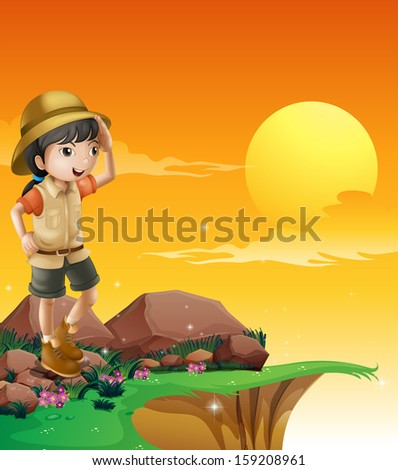 Illustration of a girl above a rock near the cliff - stock photo