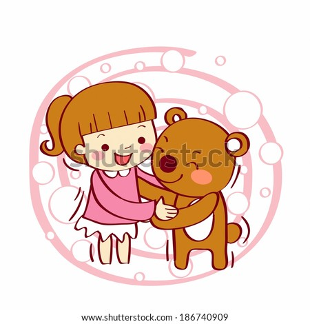 Illustration of a girl and teddy bear