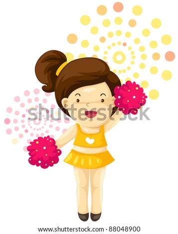 illustration of a girl cheerleader on white background - stock photo