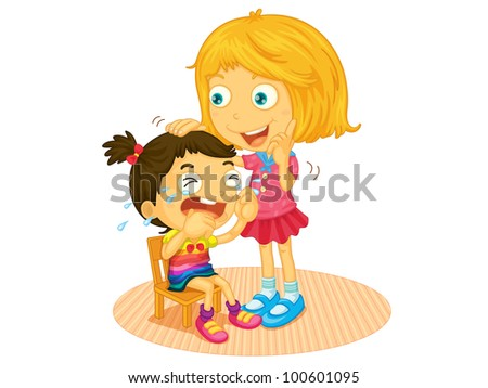 Illustration of a girl crying - EPS VECTOR format also available in my portfolio. - stock photo