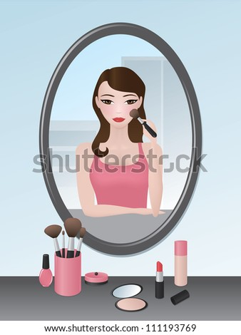 Illustration of a girl doing her makeup in the mirror.
