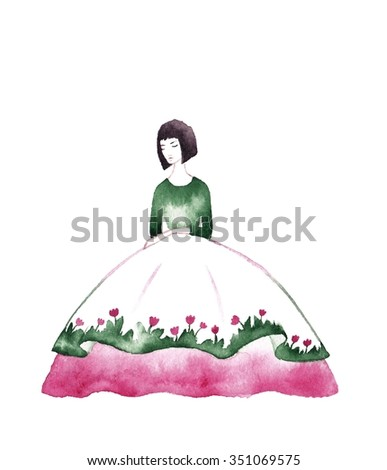 Illustration of a Girl. Girl in floral dress - hand drawn character. Spring girl - illustration. Watercolor background. Watercolor girl with flowers. Mother's day greeting card.  - stock photo