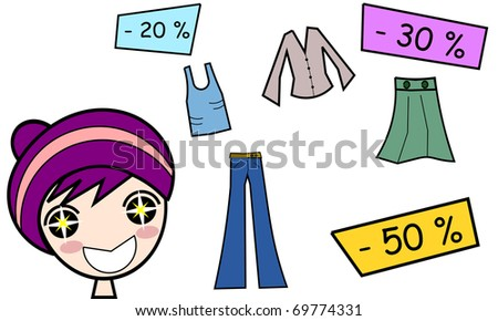 Illustration of a girl happy for the discounts