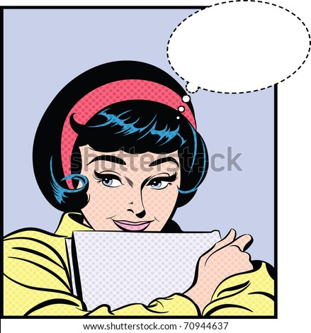 Illustration of a girl holding a book - stock photo