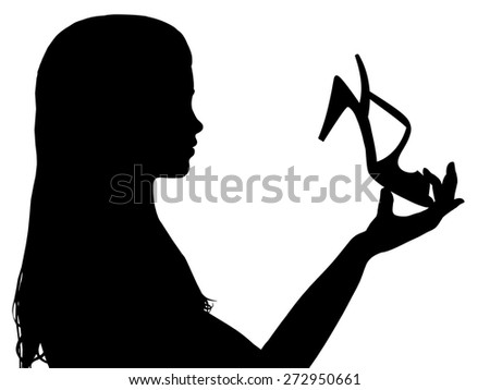 Illustration of a girl holding a shoe - stock photo