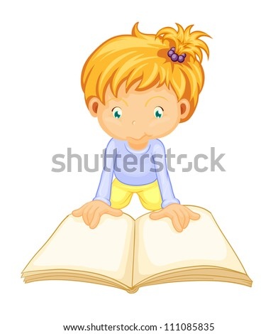 illustration of a girl reading book on a white background - stock photo