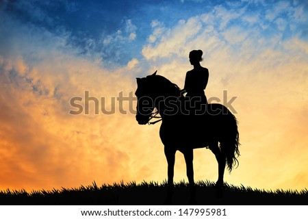 illustration of a girl riding a horse - stock photo