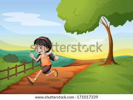 Illustration of a girl running hurriedly at the hill