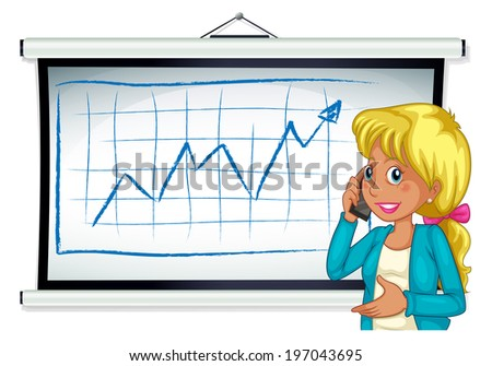 Illustration of a girl using her cellular phone in front of the bulletin board on a white background - stock photo