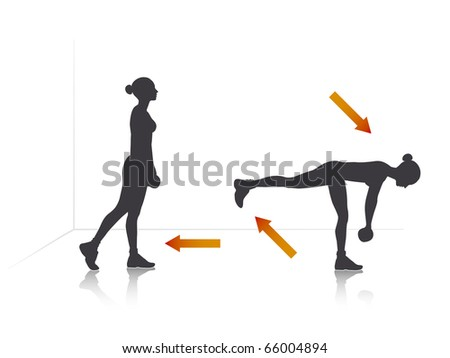 Illustration of a girl who bend with dumbbells.