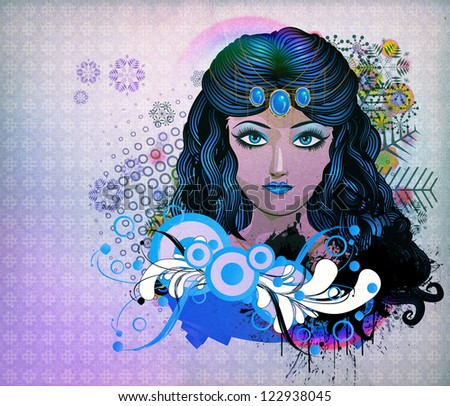 Illustration of a girl with blue hair on snowflakes background.