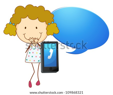 illustration of a girl with cell phone on a white - stock photo