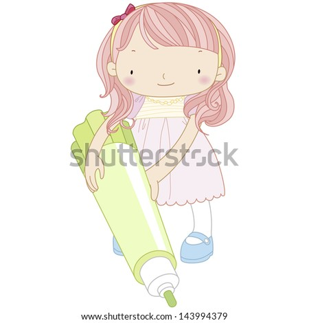 illustration of a girl with marker pen. - stock photo