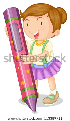 illustration of a girl with pencil on a white background - stock photo