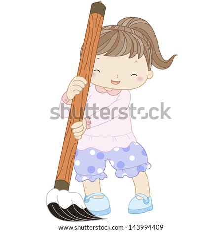 illustration of a girl with writing brush. - stock photo