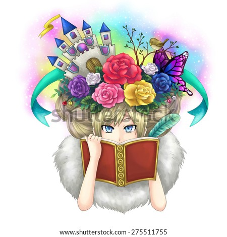 Illustration of a girl writing fantasy novel book while her imagination growing on her head or maybe she is a goddess writing her own world. - stock photo