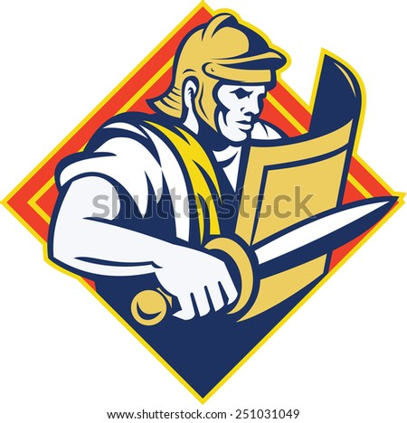 Illustration of a gladiator roman centurion with sword and shield set inside diamond shape done in retro style.