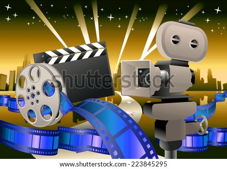 illustration of a glamour movie items on city landscape background - stock photo