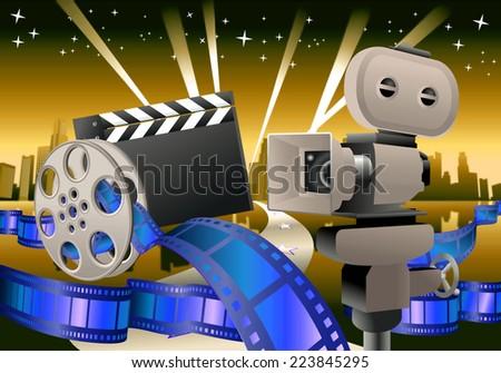 illustration of a glamour movie items on city landscape background - stock photo
