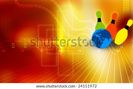 Illustration of a globe ball hitting the pins	 - stock photo