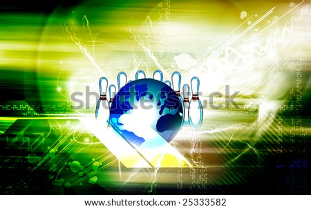 Illustration of a globe with bowling pawns	 - stock photo