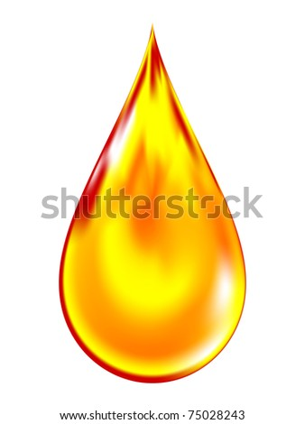 Illustration of a golden drop of oil. - stock photo