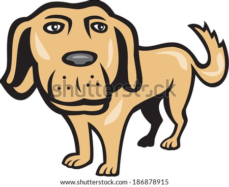 Illustration of a golden retriever dog with big head looking towards viewer done in cartoon style on isolated background. - stock photo