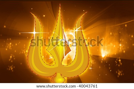 Illustration of a golden thrishul in yellow background - stock photo