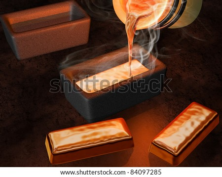 Illustration of a goldsmith casting gold into ingot moulds - stock photo