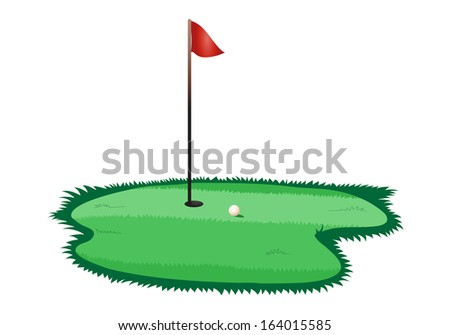 illustration of a golf ball in the green on isolated white background - stock photo