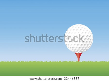 Illustration of a golf ball on a tee in short grass. Copyspace available.