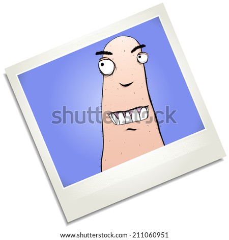 Illustration of a goofy weirdo looking for something photograph cartoon character. - stock photo