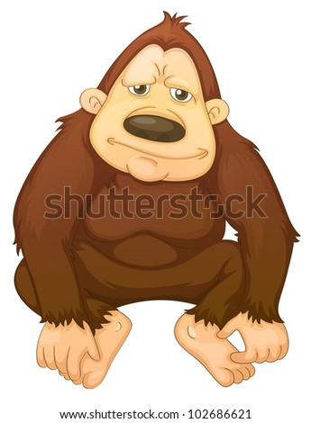 Illustration of a gorilla on white - EPS VECTOR format also available in my portfolio. - stock photo