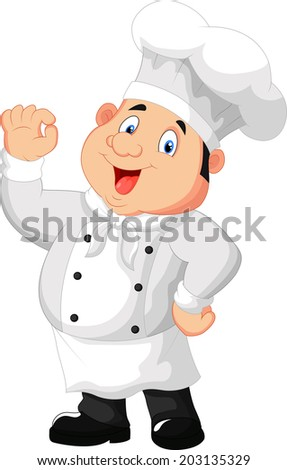 Illustration of a gourmet chef giving an okay sign - stock photo