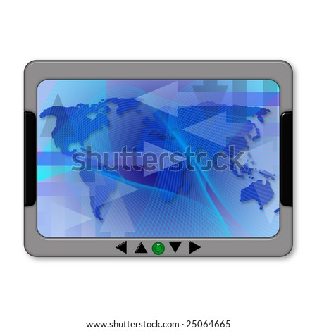 Illustration of a gps navigator with world map - stock photo
