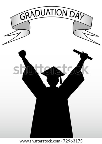 illustration of a graduate student - stock photo