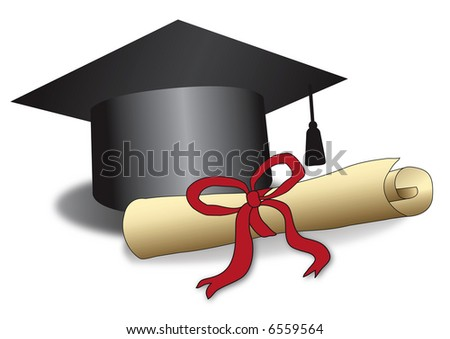 Illustration of a Graduation hat and a roll of certificate of graduation. Concept for educational success, excellence - stock photo