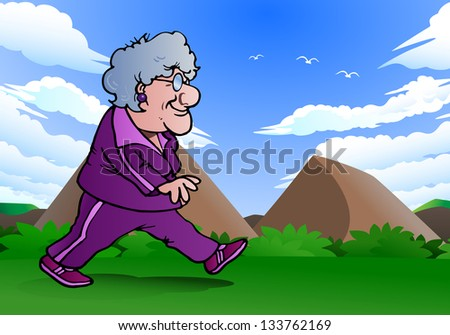 illustration of a grandma doing jogging  on nature - stock photo