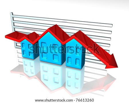 Illustration of a graph depicting house prices - stock photo
