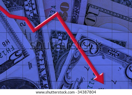 Illustration of a graph falling with dollars as a back ground - stock photo