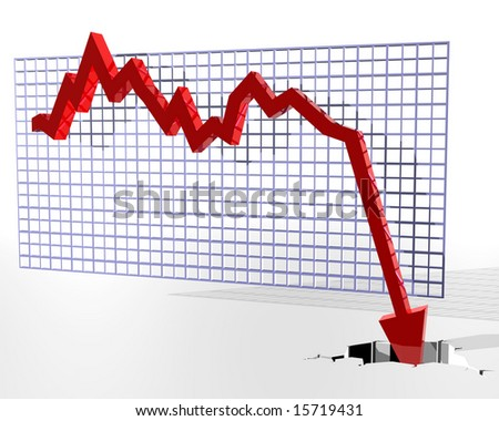 Illustration of a graph where the figures suddenly fall through the floor - stock photo